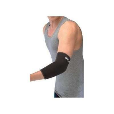 Mueller Elbow Support Elastic Knit, Contoured, Lightweight, Black - Small 7-10""