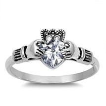 Sterling Silver Claddagh ring size 7 CZ Heart cut Crown Clear Irish New 925 v34 - $12.49