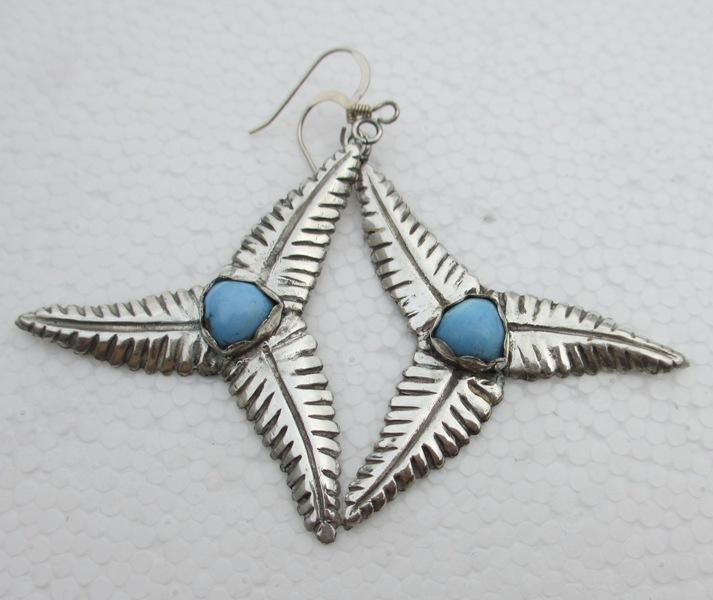 Large genuine turquoise silver earrings, triple leaf dangle, wind turbine