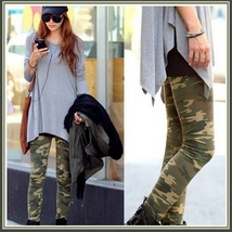 Casual Comfortable Wear Skin Tight Stretch Army Green Camo Print Pants Legging