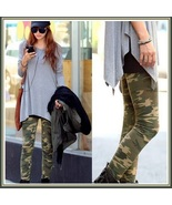 Casual Comfortable Wear Skin Tight Stretch Army Green Camo Print Pants L... - $42.95