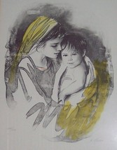 "Signed & Numbered M. Maurice Untitled ""Mother & Child"" Judaica Art Litho... - $650.00"