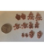 12 Skull and Crossbones Copper-tone Charms Pira... - $7.99