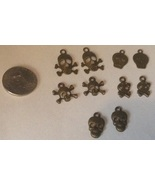 10 Skull and Crossbones Pewter-tone Charms Pira... - $6.90