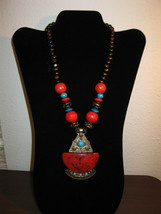 Stylish Red & Turquoise Bead Antique Gold Chunky Necklace New & Hot! #D662 - $15.99