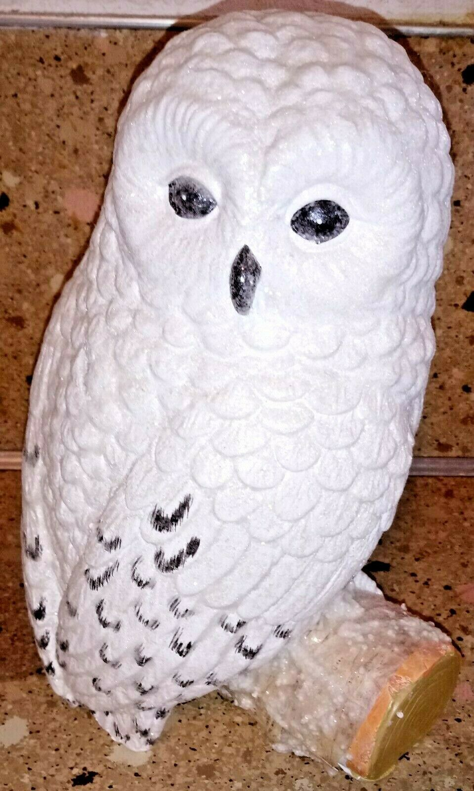 Snowy Owl On Stump Branch Glittery Statue Figurine 10""