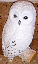 "Snowy Owl On Stump Branch Glittery Statue Figurine 10"" - $24.74"