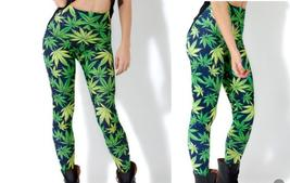 wOMENS LEGGINGS Woah Dude fAsHiOn GREEN leaf print  - $11.99