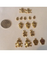 16 Skull and Crossbones Gold-tone Charms Pirate... - $10.74