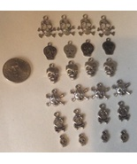 24 Skull and Crossbones Silver-tone Charms Pira... - $13.99