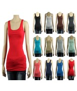 Cute Basic Scoop Neck Sleeve less TANK TOP Casual Long Length Cotton Shi... - $4.00+