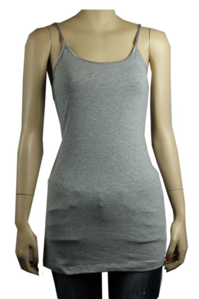 Basic SPAGHETTI TANK TOP Adjustable Strap Tunic Long Layering Casual Cami Plus