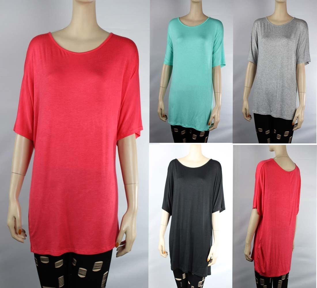 LONG BODY Loose Fit TUNIC DOLMAN TOP Scoop Neck Short Sleeve Casual Shirts SML