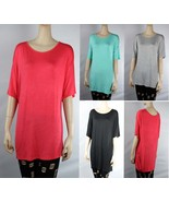 LONG BODY Loose Fit TUNIC DOLMAN TOP Scoop Neck Short Sleeve Casual Shir... - $14.99