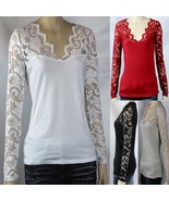 Sexy Ruched Floral Lace Long Sleeve V-neck Women's Slim Layering Casual ... - $14.99