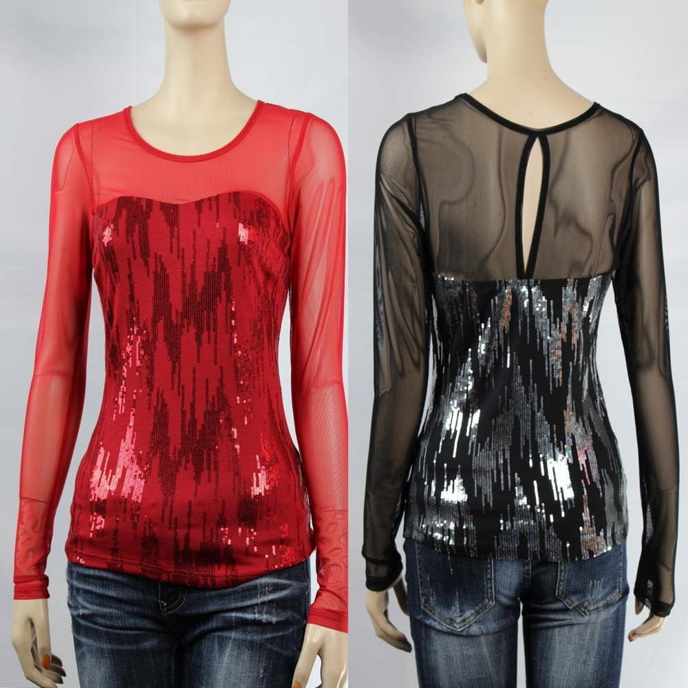 Sequins Mesh,Back Key Hole Long Sleeve Top Women's Slim Sesy Club Dace Wear  SML