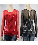 Sequins Mesh,Back Key Hole Long Sleeve Top Women's Slim Sesy Club Dace W... - $23.99
