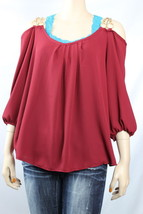 NWT ToTo Chain Shoulder Pleated Front  3/4 Sleeve Lovely Chiffon Blouse PLUS - $19.99