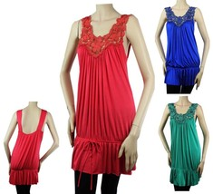 Embroidered Deep V-neck Tunic BLOUSE Pleated Body Lady Stretch Casual  Top Plus - $22.99