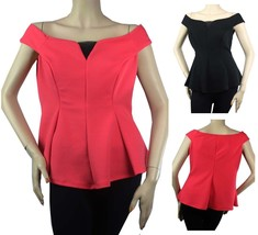 Nice Rib Boat Neck Short Sleeve BLOUSE Stretchy Women's Casual Dinner To... - $19.99