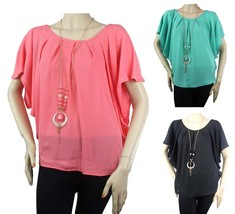 Short Sleeve Dolman CHIFFON BLOUSE w/ Necklace Pleated Lady Top Candy Color Plus - $20.99