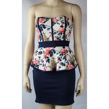 NWT Peplum Flower Ribbed Top Tight Up Navy Skirt Sexy Mini Tube Dress Me... - $25.99