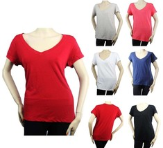 Basic Short Sleeve V- NECK T-Shirts Stretch Cotton Casual Plain TOP Juni... - $7.99