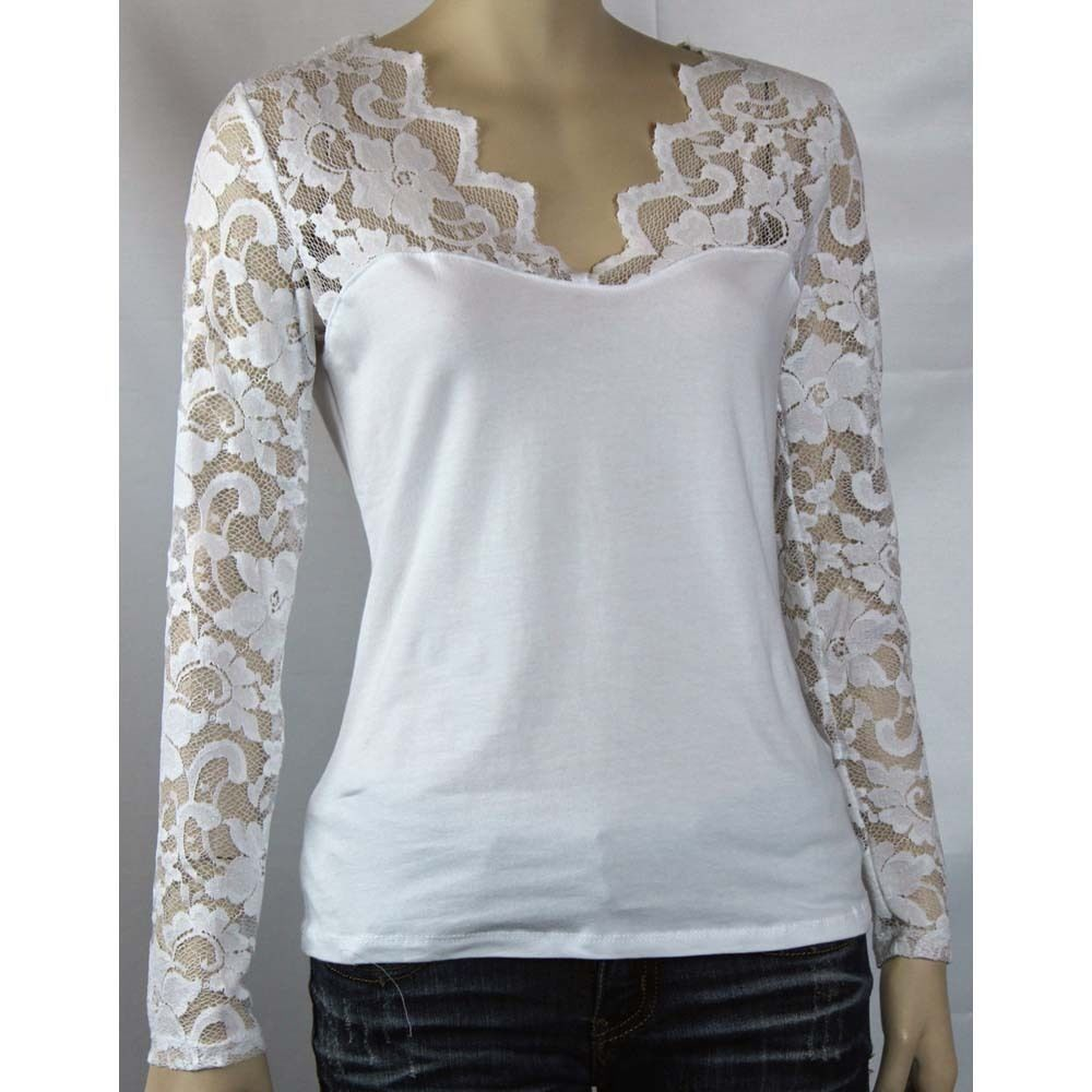 Sexy Ruched Floral Lace Long Sleeve V-neck Women's Slim Layering Casual Top SML