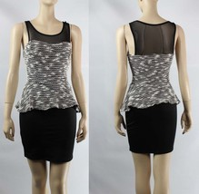 NWT Peplum Mesh Layering Padded Bra Stretch Scoop Neck Slim Official Dre... - $27.99