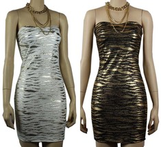 Gold Metallic Animal Print Sexy Tube Dress  w/ Necklace Stretch Club Wea... - €28,96 EUR