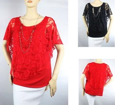 Lace Pancho Style Short Sleeve BLOUSE,Lining Layering Woman Dinner Cute ... - $23.99