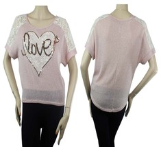 Love,Hart Sequins Short Sleeve Knit T-Shirt Boat Neck Hi-Low Casual Blou... - $20.99