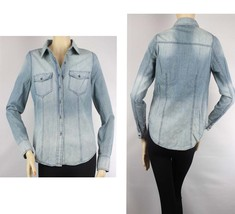 Washed Button,Pockets Good Rib Line BLUE JEAN SHIRTS Women's Casual Blou... - $19.99