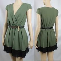 Deep V-Neck Lining,Chiffon Hem Dress w/ Belt Pleated Casual Dress Green SML - $26.99