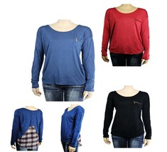 Boat Neck Long Sleeve Blouse Pocket Check-Chiffon Layering Back Casual Top SM L - $17.99