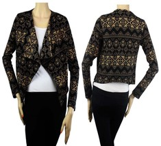 Aztec Print CROPPED OpenLayering CARDIGAN Good Rib Woman Cute Casual Top... - $18.99