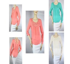 Lace Trim Woven Long Sleeve  BLOUSE Adjust Arms Pleated Back Candy Lady ... - $19.99