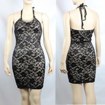 Floral Lace, Khaki Lining Halter Dress  w/ Necklace Slim Dinner Wear  Bl... - $27.99