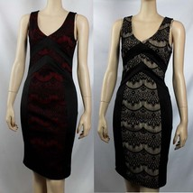 Embroider Fabric Good Rib Line Sleveless Dress 2Tone Mini Slim Dinner We... - $25.99