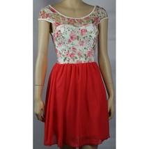 NWT Flower Lace Deep Open Back Top Coral Chiffon Skirt Sexy Mini Dress L... - $25.99