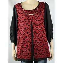 NWT Lollol Red Glittering,Chiffon Lining w/ Nacklace Stitching Missy Blo... - $23.99