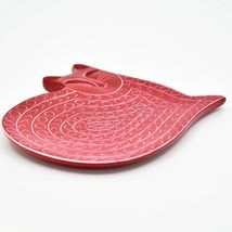 Vaneal Group Hand Carved Kisii Soapstone Red Sleeping Cat Trinket Dish Plate image 3