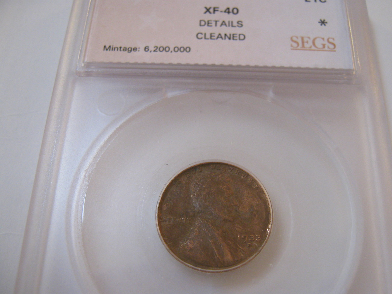 Primary image for 1933-D Lincoln Penny , Cleaned , SEGS , XF-40