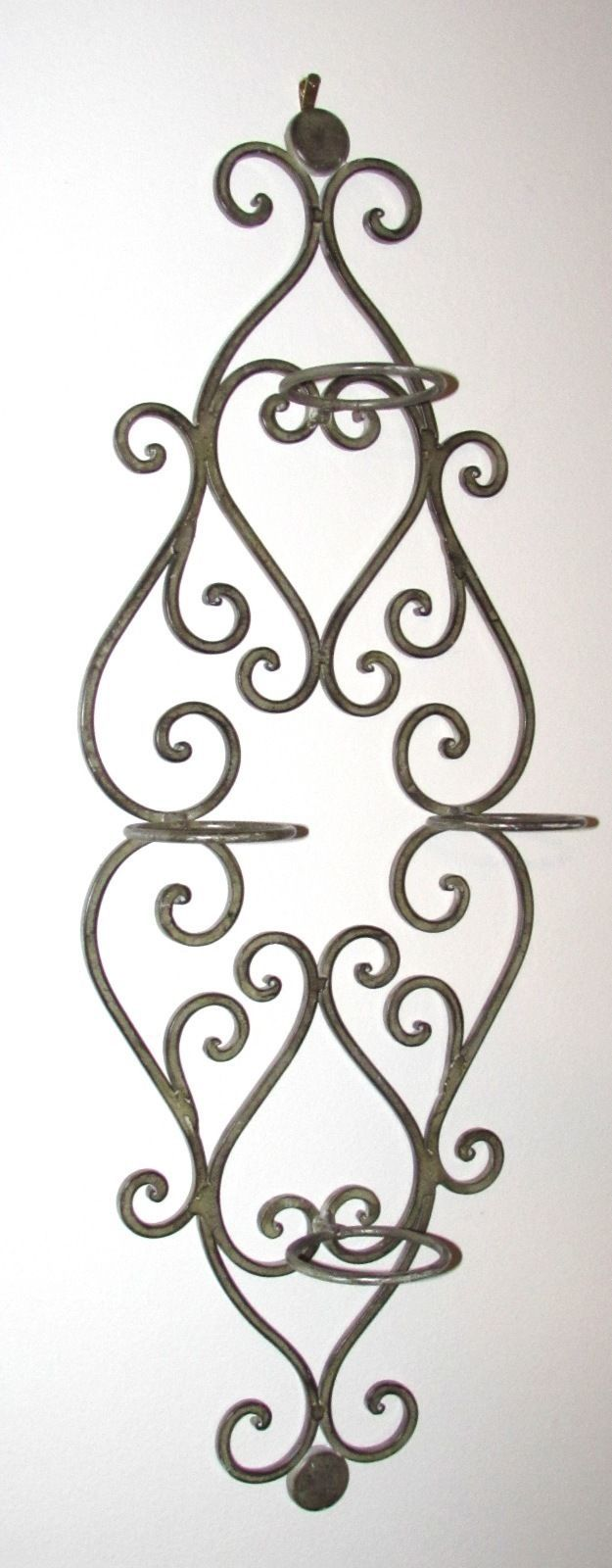 Tuscan Scrollwork Wrought Iron Candle Wall Sconce