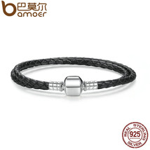 BAMOER Fashion 925 Sterling Silver Black Snake Chain Adjustable Bracelet... - $23.99+