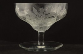 Locke Art Signed Conventional Line Saucer Footed Sherbet Poinsettia Patt... - $59.95