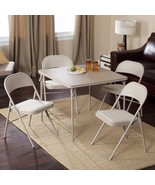 Meco Comfort Deluxe Card Table Set Padded Chair and Back- 5 Piece   Buff... - $178.25