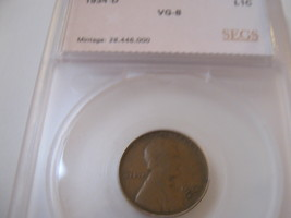 1934-D Lincoln Penny , SEGS , VG-8 - $13.00