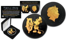 2017 Niue NZM 1oz  SILVER Mickey Mouse DISNEY Willie BLACK RUTHENIUM & 2... - $65.41