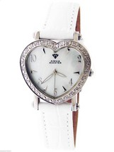 SWISS AQUA MASTER LADY DOUBLE HEART 0.50CT DIAMONDS WHITE FACE WATCH - $222.75